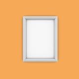 White Picture Frame isolate on orange background Royalty Free Stock Photo