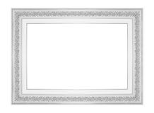 White picture frame isolated on white stock images