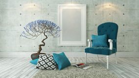 White picture frames with blue bergere and concrete wall, backgr. Picture frames with blue bergere and concrete wall decor, background, template design Stock Images