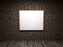 White picture in a room against a brick wal Stock Photos
