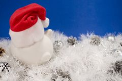 White pig Santa hat Royalty Free Stock Photography
