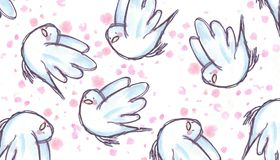 White dove flying, watercolor illustration Stock Photos