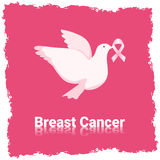 White Pigeon Hold Pink Ribbon Breast Cancer Awareness Stock Photo