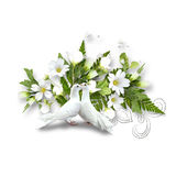 White pigeons and bouquet with white flowers Royalty Free Stock Images