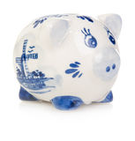 White piggy bank with blue painting Stock Images