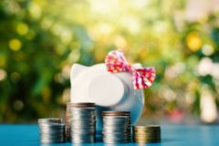 White piggy bank and coins on table tree bokeh background Stock Image