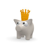 White piggy bank with a crown. Cute piggy bank with a golden crown on a white background, 3d rendering Stock Photo