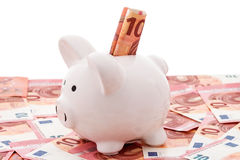 White piggy bank with euro bills Royalty Free Stock Photo