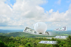 White piggy bank flying with dollar Stock Photos