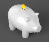 White piggy bank with gold coin on dark background Stock Photography