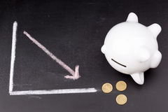 White piggy bank on a graph: broke Royalty Free Stock Photography