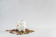 White  piggy bank or money box with  money coins. Royalty Free Stock Photo