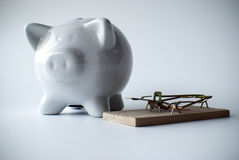 White piggy bank and mousetrap Stock Photo