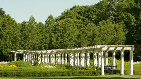 White pillars. At sonnenberg gardens and historic sight in upstate new york Stock Image