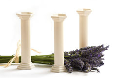 White pillars. Bunch of lavender and white pillars Royalty Free Stock Photos