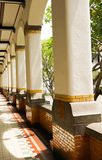 White pillars in arow near a garden photo taken in Semarang Indonesia Stock Photography