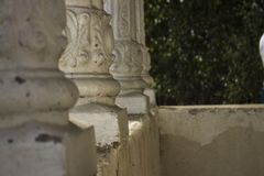 White pillars in the focus. Rural white pillars in the focus Royalty Free Stock Photo