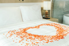 White pillow on bed Stock Image