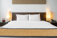 White pillow bedroom Stock Photography