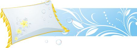 White pillow and bubbles. Decorative banner Royalty Free Stock Photo