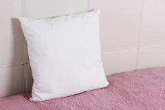 White pillow case Mockup. Interior photo Stock Photos