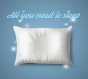 White Pillow with magic on Blue Background, Real Shadow. Vector illustration. White Pillow with magic on Blue Background with Real Shadow. Top View of a Soft Royalty Free Stock Images