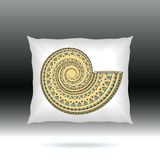 White Pillow with ornament shell Royalty Free Stock Photos