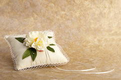 White pillow for wedding rings Royalty Free Stock Photo