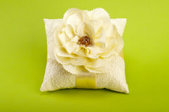 White pillow for wedding rings Royalty Free Stock Photography