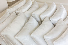 White pillows on bed close up Royalty Free Stock Photography