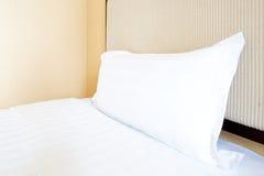 White pillows on a bed Comfortable Stock Photos