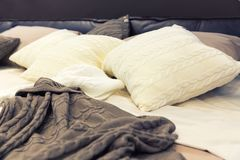 White pillows on hotel bed Royalty Free Stock Photo