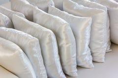 White pillows leather on cushion Stock Photo