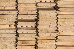 White Pine Decking Planks Heap - Side View. White Pine decking planks heap - profile view Stock Photos