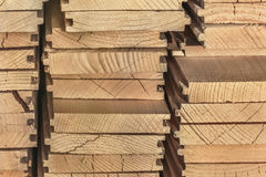 White Pine Decking Planks Heap - Side View Stock Images