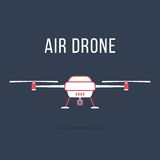 White and pink air drone. Concept of fast shipping, innovative service and remote control toy. isolated on dark background. flat style trendy modern design Stock Images
