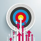 Arrows Up White Pink Centre Target. White and pink arrows with target on the gray background Stock Photos