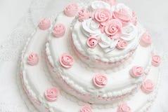 Wedding cake. White and pink beautiful wedding cake Royalty Free Stock Photography