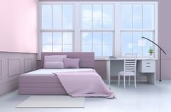White-pink bedroom 3d rendering. Bed room decor with tree in glass vase, pillows, blanket, window, sky, lamp,desk,book,pink bed, bolster,chair,white-wood wall Stock Image