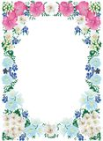 White, pink and blue flower frame Stock Photo