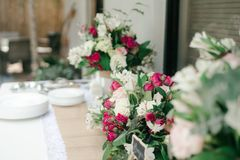 White and Pink Flower Bouquet on White Table Stock Photos