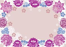 White and pink flower frame decoration Royalty Free Stock Photos