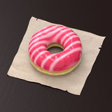 White and pink-glazed donut Royalty Free Stock Image