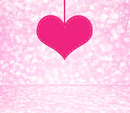 White pink glitter bokeh with heart Royalty Free Stock Photography