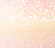 White pink gold glitter bokeh texture christmas abstract background stock image