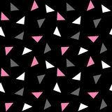 White pink gray triangles pattern on black background seamless v. Ector Royalty Free Stock Photos