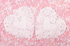 White and Pink Hearts. Around lace hearts Royalty Free Stock Images