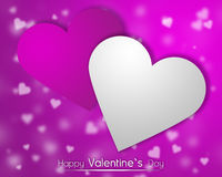 White and pink hearts on a pink backgroung with dispersed little hearts. Valentine`s card with White and purple hearts on a purple backgroung with dispersed Royalty Free Stock Image