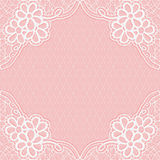 White-pink lace frame with a mesh background. For design of cards or wedding invitations. Royalty Free Stock Photo