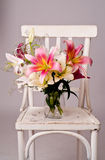 White and pink lily flowers, vintage card Royalty Free Stock Image